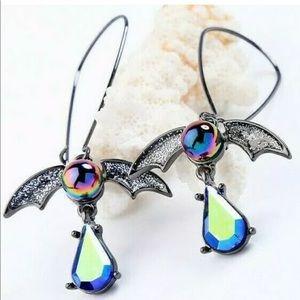 NWT•Betsey Johnson AB Rhinestone Bat earrings